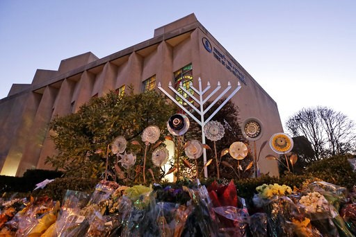 (AP Photo/Gene J. Puskar). A menorah is installed outside the Tree of Life Synagogue in preparation for a celebration service at sundown on the first night of Hanukkah, Sunday, Dec. 2, 2018 in the Squirrel Hill neighborhood of Pittsburgh. A gunman shot...