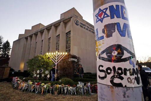 (AP Photo/Gene J. Puskar). A menorah is tested outside the Tree of Life Synagogue in preparation for a celebration service at sundown on the first night of Hanukkah, Sunday, Dec. 2, 2018 in the Squirrel Hill neighborhood of Pittsburgh. A gunman shot an...
