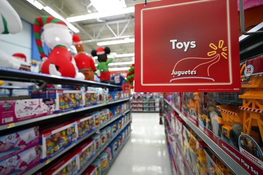 (AP Photo/David J. Phillip, File). In this Friday, Nov. 9, 2018 photo, toys sit on the shelves at a Walmart Supercenter in Houston. Pediatricians say the best toys for young children are simple, old-fashioned toys like blocks and puzzles rather than co...