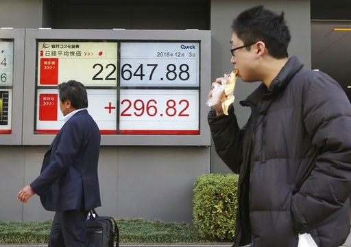 (AP Photo/Koji Sasahara). People walk by an electronic stock board of a securities firm in Tokyo, Monday, Dec. 3, 2018 . Shares are advancing in Asia following the meeting between Presidents Donald Trump and Xi Jinping, who agreed moderate tensions ove...