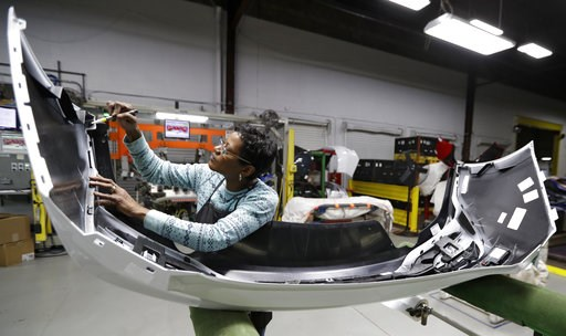 (AP Photo/Tony Dejak, File). FILE- In this Nov. 28, 2018, file photo final inspector Mary Skinner inspects the rear end of a General Motors Chevrolet Cruze at Jamestown Industries in Youngstown, Ohio. On Monday, Dec. 3, the Institute for Supply Managem...