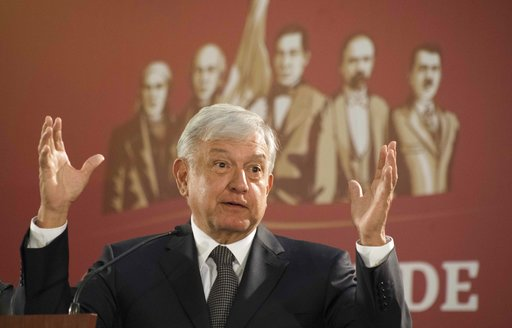 (AP Photo/Christian Palma). Mexico's President Andres Manuel Lopez Obrador holds his first news conference as president, which started at 7 a.m. local time in Mexico City, Monday, Dec. 3, 2018. Mexico's newly inaugurated president hit the ground runnin...