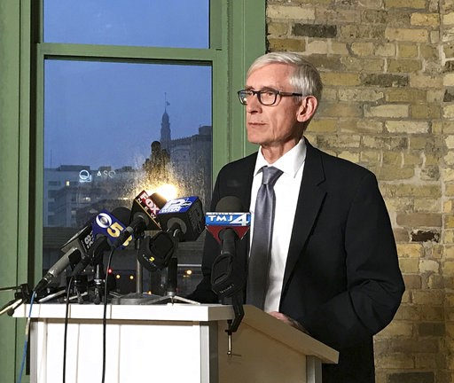 (Meg Jones/Milwaukee Journal-Sentinel via AP). Wisconsin Gov.-elect Tony Evers speaks at the Ward 4 building in Milwaukee on Sunday, Dec. 2, 2018. Democrats in Wisconsin girded for a fight and encouraged voters to speak out as Republicans prepared to m...