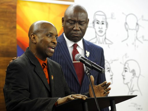 """(AP Photo/Jay Reeves). Emantic Bradford Sr. discusses the results of a forensic examination on his son Emantic """"EJ"""" Bradford Jr., who was fatally shot by police in a shopping mall on Thanksgiving day, during a news conference in Birmingham, Ala., on Mo..."""
