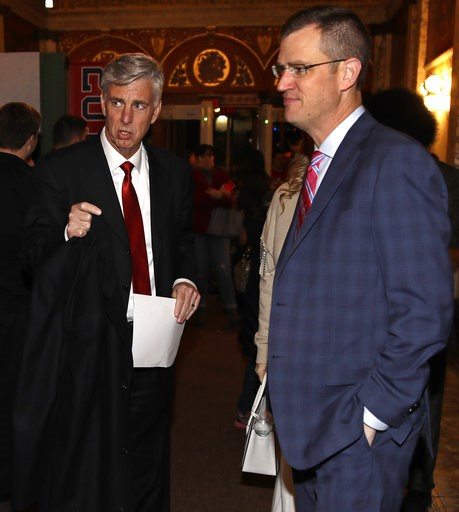 """(AP Photo/Charles Krupa). Boston Red Sox CEO Sam Kennedy, right, and Dave Dombrowski, left, the team's president of baseball operations, arrive for the premiere of """"The 2018 World Series: Damage Done,"""" documentary production that captures video moments..."""