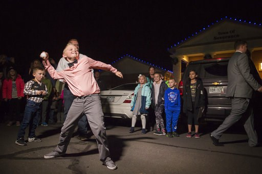 (Timothy Hurst/The Coloradoan via AP). Range View Elementary School third grader Dane Best throws the first legal snowball in the parking lot of the Town Hall after presenting his argument to the town board trustees to change a law in Severance that ba...
