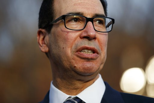 (AP Photo/Evan Vucci). Treasury Secretary Steve Mnuchin talks with reporters about trade negotiations with China, at the White House, Monday, Dec. 3, 2018, in Washington.