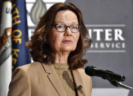 (AP Photo/Timothy D. Easley, File). FILE - In this Sept. 24, 2018, file photo, CIA Director Gina Haspel addresses the audience in Louisville, Ky. Haspel is headed to Capitol Hill to brief Senate leaders Tuesday, Dec. 4, 2018, on the slaying of Saudi jo...