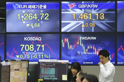 (AP Photo/Ahn Young-joon). Currency traders watch monitors at the foreign exchange dealing room of the KEB Hana Bank headquarters in Seoul, South Korea, Tuesday, Dec. 4, 2018. Asian shares were mostly lower Tuesday as investors wondered if a 90-day tar...