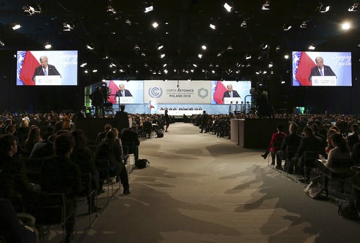 (AP Photo/Czarek Sokolowski). UN Secretary General Antonio Guterres delivers a speech during the opening of COP24 UN Climate Change Conference 2018 in Katowice, Poland, Monday, Dec. 3, 2018.