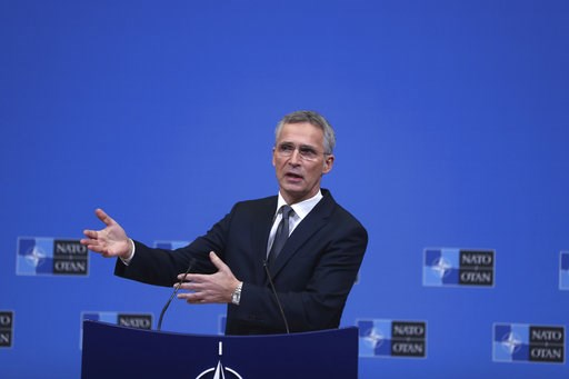 (AP Photo/Francisco Seco). NATO Secretary General Jens Stoltenberg speaks during a media conference at NATO headquarters in Brussels, Monday, Dec. 3, 2018. NATO foreign ministers meet for a two-day session beginning on Tuesday, to discuss among other i...