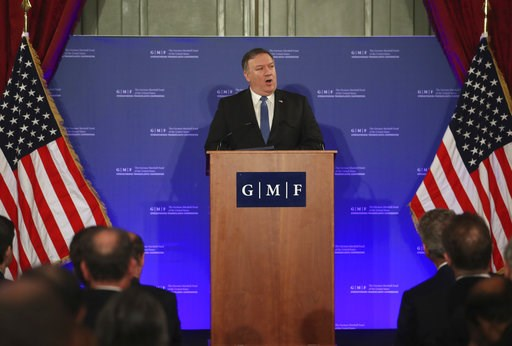 (AP Photo/Francisco Seco, Pool). U.S. Secretary of State Mike Pompeo speaks during an event at the Concert Noble in Brussels, Tuesday, Dec. 4, 2018. U.S. Secretary of State Mike Pompeo is in Brussels to attend a two-day meeting of NATO foreign ministers.