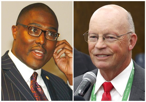 (The Arkansas Democrat-Gazette via AP\, File). FILE - This combination of file photos shows candidates for mayor of Little Rock, Ark., from left, Frank Scott and Baker Kurrus, who are running in the Tuesday, Dec. 4, 2018, runoff election for the nonpar...