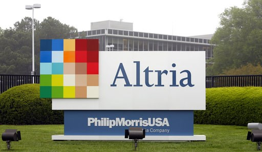 (AP Photo/Steve Helber, File). FILE - This April 23, 2008, file photo, shows the Altria Group Inc. corporate headquarters in Richmond, Va. The potential entry of one of the world's largest tobacco companies into the marijuana business is sending the sh...