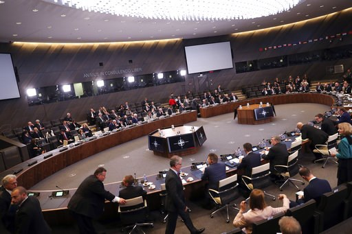 (AP Photo/Francisco Seco). A general view of a meeting of the North Atlantic Council at NATO headquarters in Brussels, Tuesday, Dec. 4, 2018. Russia takes center-stage at NATO Tuesday, as allied foreign ministers meet to debate ways to dissuade Moscow ...