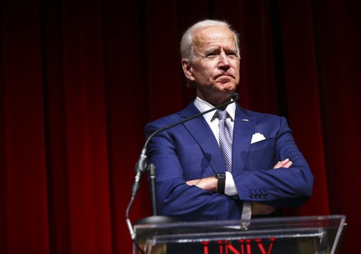 (Chase Stevens/Las Vegas Review-Journal via AP). Former Vice President Joe Biden speaks during the UNLV William S. Boyd School of Law 20th Anniversary Gala  in Las Vegas on Saturday, Dec. 1, 2018.