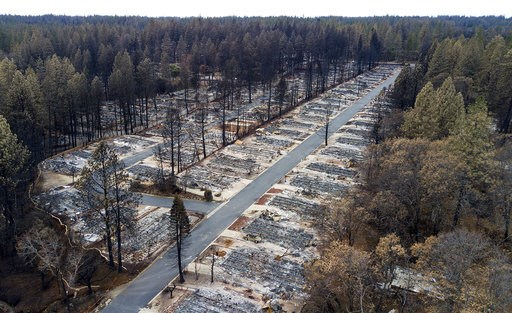 (AP Photo/Noah Berger). Homes leveled by the Camp Fire line the Ridgewood Mobile Home Park retirement community in Paradise, Calif., on Monday, Dec. 3, 2018.
