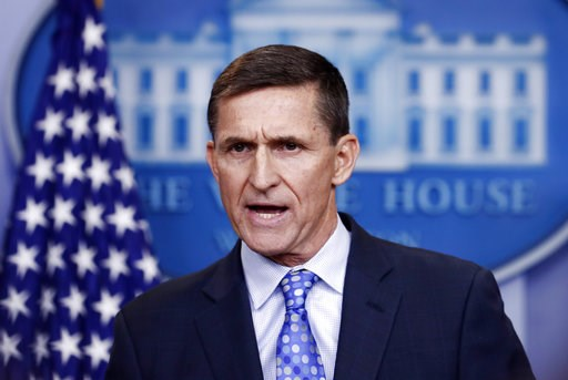 (AP Photo/Carolyn Kaster). FILE - In this Feb. 1, 2017 file photo, National Security Adviser Michael Flynn speaks during the daily news briefing at the White House in Washington.  The special counsel in the Russia investigation is set to give the first...