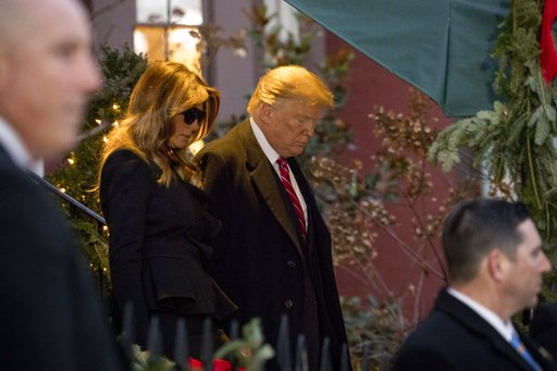 (AP Photo/Andrew Harnik). President Donald Trump and first lady Melania Trump leave Blair House after visiting with the family of former President George H. W. Bush, Tuesday, Dec. 4, 2018, in Washington.