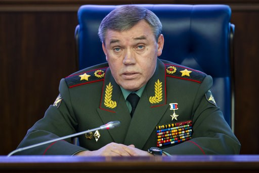 (AP Photo/Alexander Zemlianichenko). Deputy Chief of General Staff of Russia, Valery Gerasimov delivers his speech during a briefing in the Russian Defense Ministry's headquarters in Moscow, Russia, Wednesday, Dec. 5, 2018.   Gerasimov told a briefing ...