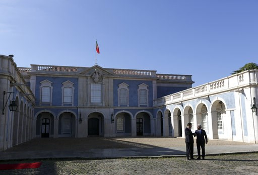 (AP Photo/Armando Franca). China's President Xi Jinping and Portuguese Prime Minister Antonio Costa, right, pose for the media before their meeting Wednesday, Dec. 5, 2018, at the Queluz National Palace in Queluz, outside Lisbon. Xi closes Wednesday a ...