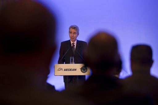 (AP Photo/Petros Giannakouris). U.S. Ambassador to Greece Geoffrey Pyatt speaks during a signing of a memorandum of understanding for the purchase of up to 130 new Pratt & Whitney engines for the Greek company's new Airbus passenger jets in Athens,...