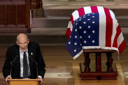 (AP Photo/Andrew Harnik, Pool). Former Sen. Alan Simpson, R-Wyo, speaks during the State Funeral for former President George H.W. Bush at the National Cathedral, Wednesday, Dec. 5, 2018, in Washington.