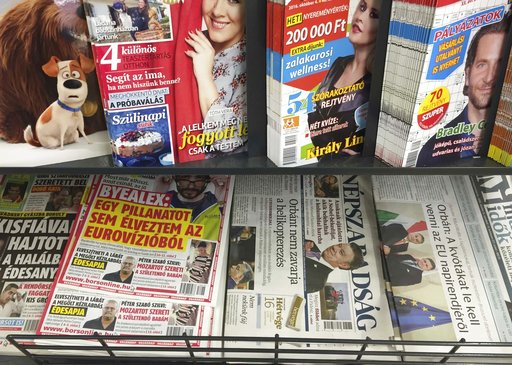 (AP Photo/Andras Nagy, FILE). FILE - In this file photo dated Saturday, Oct. 8, 2016, a newsstand including Saturday papers with Nepszabadsag daily is pictured in Budapest, Hungary.  The creation in Hungary of a giant, pro-government media conglomerate...