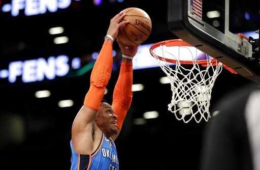 (AP Photo/Julio Cortez). Oklahoma City Thunder guard Russell Westbrook dunks on the Brooklyn Nets during the first half of an NBA basketball game, Wednesday, Dec. 5, 2018, in New York.