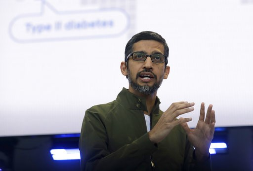 (AP Photo/Jeff Chiu, File). FILE - In this May 8, 2018, file photo, Google CEO Sundar Pichai speaks at the Google I/O conference in Mountain View, Calif. Top executives from Google, Microsoft, IBM, Oracle and Qualcomm are planning to meet at the White ...