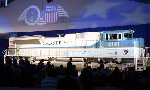 (AP Photo/Pat Sullivan, File). FILE - In this Oct. 18, 2005, file photo, a new locomotive numbered 4141 in honor of the 41st president, George H.W. Bush, is unveiled at Texas A&M University in College Station, Texas. The locomotive unveiled for the...