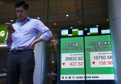 (AP Photo/Vincent Yu). A man stands next an electronic board showing Hong Kong share index outside a local bank in Hong Kong, Wednesday, Dec. 5, 2018. Shares were moderately lower in Asia on Wednesday following a bloodletting on Wall Street as goodwill...