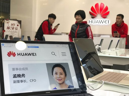(AP Photo/Ng Han Guan). A profile of Huawei's chief financial officer Meng Wanzhou is displayed on a Huawei computer at a Huawei store in Beijing, China, Thursday, Dec. 6, 2018. Canadian authorities said Wednesday that they have arrested Meng for possi...