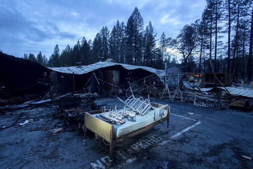 (AP Photo/Noah Berger). A bed rests outside Cypress Meadows Post-Acute, a nursing home leveled by the Camp Fire, on Tuesday, Dec. 4, 2018, in Paradise, Calif.