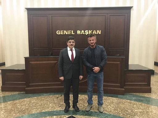 (Handout via AP). In this Wednesday Dec. 5, 2018 photo made available Thursday by Yasin Aktay, and showing Yasin Aktay an adviser to Turkey's President Recep Tayyip Erdogan, left, with US actor Sean Penn, in Ankara, Turkey.  Aktay told The Associated P...