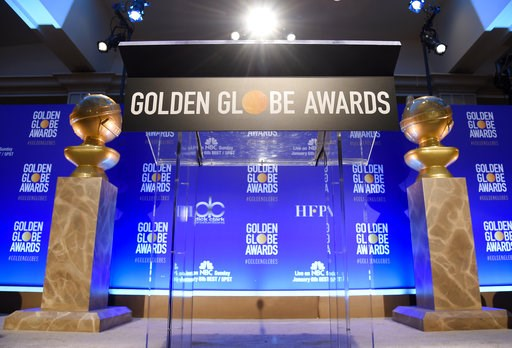 (Photo by Chris Pizzello/Invision/AP). Golden Globe statues appear on stage prior to the nominations for the 76th Annual Golden Globe Awards at the Beverly Hilton hotel on Thursday, Dec. 6, 2018, in Beverly Hills, Calif. The 76th annual Golden Globe Aw...