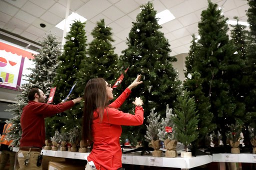 (AP Photo/Julio Cortez, File). FILE- In this Friday, Nov. 16, 2018, file photo, employees work on the presentation of Christmas trees at a Target store in Bridgewater, N.J. On Thursday, Dec. 6, the Institute for Supply Management, a trade group of purc...