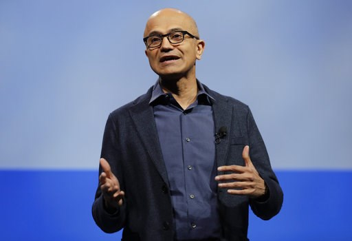 (AP Photo/Ted S. Warren, File). FILE - In this Nov. 28, 2018, file photo, Microsoft CEO Satya Nadella speaks during the annual Microsoft Corp. shareholders meeting in Bellevue, Wash. Top executives from Google, Microsoft, IBM, Oracle and Qualcomm are p...