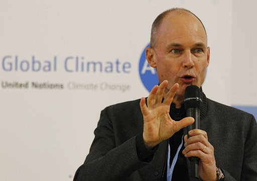 (AP Photo/Czarek Sokolowski). Bertrand Piccard, Swiss pilot and Chairman of the Solar Impulse sun-powered aircraft company attends a press conference during the COP24 summit on climate change in Katowice, Poland, Tuesday, Dec. 4, 2018.  The two-week me...
