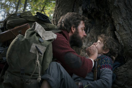 "(Jonny Cournoyer/Paramount Pictures via AP). This image released by Paramount Pictures shows John Krasinski, left, and Noah Jupe in a scene from ""A Quiet Place."" Krasinski's celebrated mostly silent horror sensation ""A Quiet Place"" got only one nominat..."