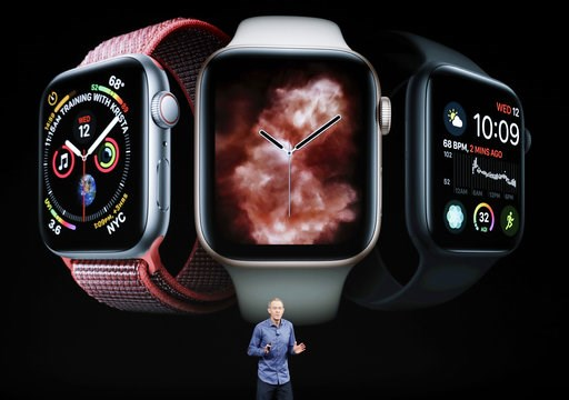(AP Photo/Marcio Jose Sanchez, File). FILE - In this Sept. 12, 2018, file photo, Jeff Williams, Apple's chief operating officer, speaks about the Apple Watch Series 4 at the Steve Jobs Theater during an event to announce new Apple products in Cupertino...