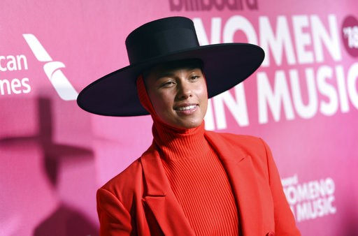 (Photo by Evan Agostini/Invision/AP). Alicia Keys attends the 13th annual Billboard Women in Music event at Pier 36 on Thursday, Dec. 6, 2018, in New York.