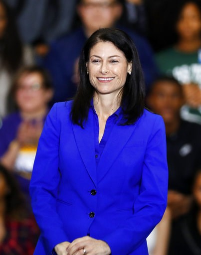 (AP Photo/Paul Sancya, File). FILE - In this Friday, Oct. 26, 2018 file photo, Dana Nessel, Democratic candidate for attorney general, appears during a rally in Detroit. Michigan attorney general-elect Nessel vowed not to defend state laws she consider...