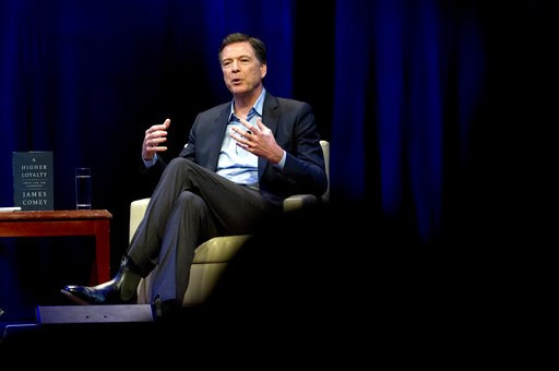( AP Photo/Jose Luis Magana, File). FILE - In this April 30, 2018, file photo, former FBI director James Comey speaks during a stop on his book tour in Washington. House Republicans are preparing to interview Comey behind closed doors Friday, Dec. 7, h...