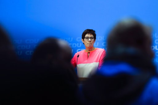 (AP Photo/Markus Schreiber, file). FILE - In this Monday, Feb. 19, 2018 file photo The governor of German Saarland state and designated CDU Secretary General, Annegret Kramp-Karrenbauer, addresses a news conference after a party's leaders meeting in Be...