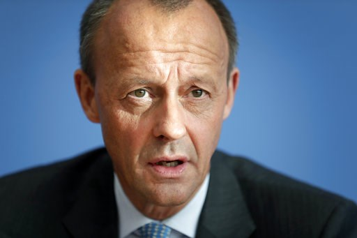 (AP Photo/Michael Sohn, file). FILE - In this Wednesday, Oct. 31, 2018 file photo Friedrich Merz, member of the German Christian Democratic Party, addresses the media during a press conference in Berlin, Germany. After longtime German chancellor Angela...