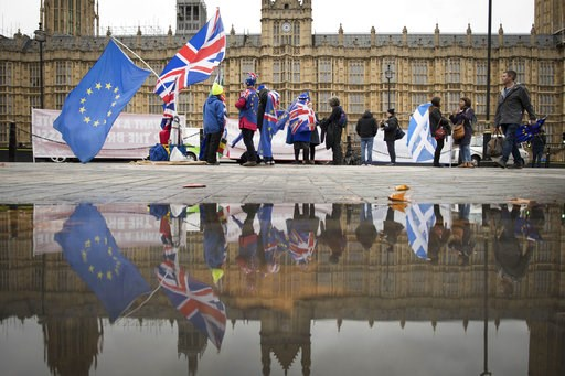 (Stefan Rousseau/PA via AP). Anti Brexit demonstrators protest outside the Houses of Parliament in London Thursday Dec. 6, 2018.  Britain's Prime Minister Theresa May's effort to win support for her Brexit agreement comes amid reports in British newspa...