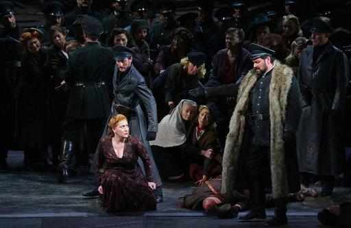 (Brescia/Amisano/Teatro alla Scala via AP). This undated photo made available by La Scala opera theater on Dec. 5, 2018 shows Spanish soprano Saioa Hernandez, on the ground, and Russian bass Ildar Abdrazakov, right, performing during a rehearsal of Giu...