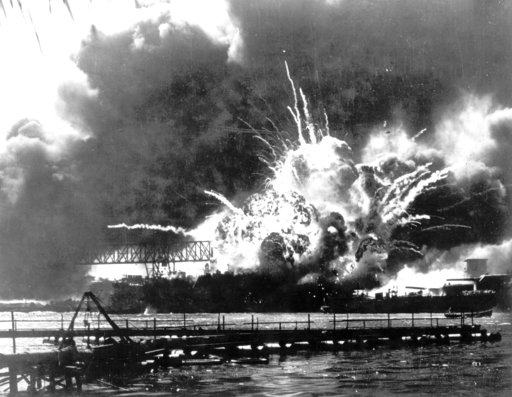 (U.S. Navy via AP, File). In this Dec. 7, 1941 file photo provided by the U.S. Navy, the destroyer USS Shaw explodes after being hit by bombs during the Japanese attack on Pearl Harbor, Hawaii. About 20 survivors are gathering on Friday, Dec. 7, 2018, ...