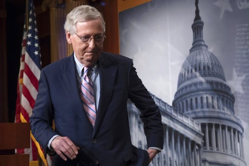 (AP Photo/J. Scott Applewhite). FILE -  In this Oct. 6, 2018 file photo, Senate Majority Leader Mitch McConnell, R-Ky., finishes speaking to reporters at the Capitol in Washington. McConnell's blockade of a popular criminal justice reform package has a...